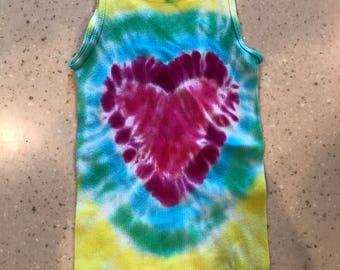 Adorabe one of a kind heart tye-dye tank.