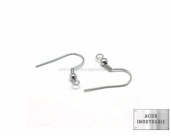 Stainless steel - 10 or 100 Stainless Steel Earring Hooks 20mm