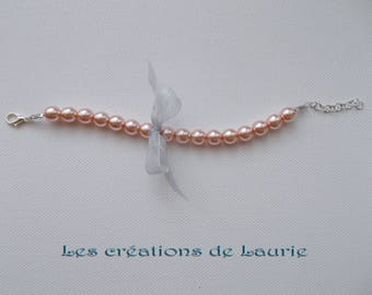 Bracelet pink peach and silver knot beads