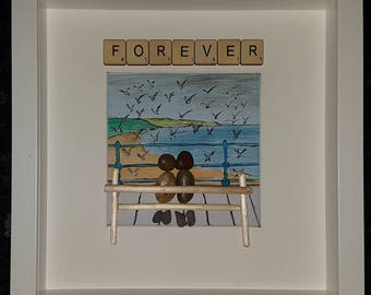 Forever watercolour pebble art picture