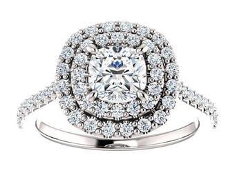 Forever One Moissanite Engagement Ring- Raegan | cushion | double halo moissanite engagement ring