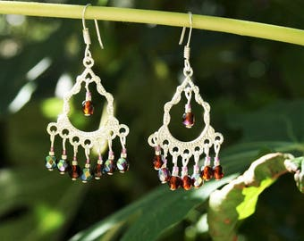 Silver earrings, chandeliers, 925 Silver hooks and beads