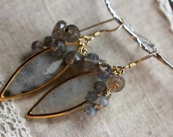 Gemstone Earrings; Labradorite Earrings, Gold Filled Labradorite Drop Earrings, Protection, Willpower, Spiritual growing, etc.