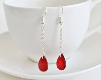 red earrings | blood drop earrings | fantasy jewelry