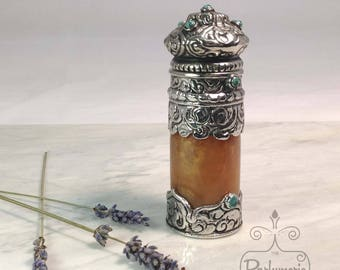 Amber Silver Encrusted Unique Old World ATTAR Oil Oud PERFUME Cologne Bottle 12ML Gift Exotic Arabian Private Label