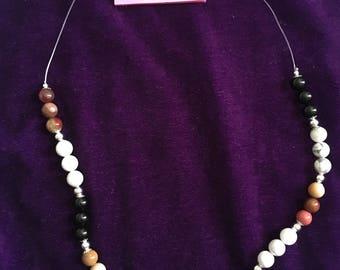 Mookai/Howlite/Black Tourmaline necklace