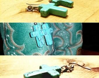 Beautiful turquoise cross earrings