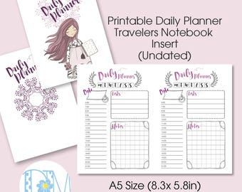 "A5 Size Daily TN Insert: ""LittleBoho"" Vertical Week on 2 Page  Printable Insert for Travelers Notebooks"