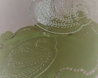 Set of 2 Vintage Glass Snack Plates, Homestead or Crystal Leaf Snack Plates, Glass Mid-Century Snack Plates