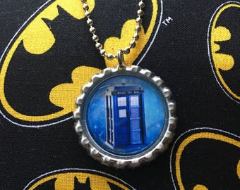 Tardis Bottle Cap Necklace Pendant Doctor Who Jewelry Accessories