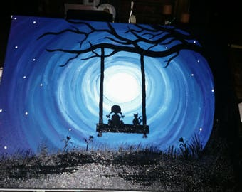 Silhouette girl and her cat on a swing painting/ full moon/  hand made/ starry night/ silhouette tree/ night sky/ blue/ black