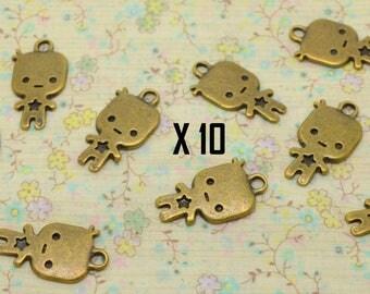 10 x baby bronze birthstone boy charm