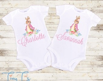 Twin baby gift etsy twins easter onesies twin onesies twins baby gifts twin name onesies negle Gallery