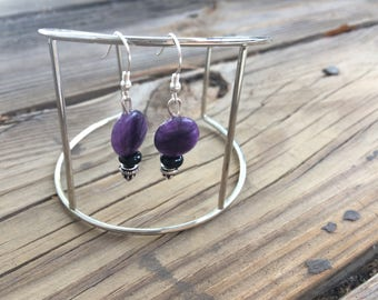 Purple & black drop earrings