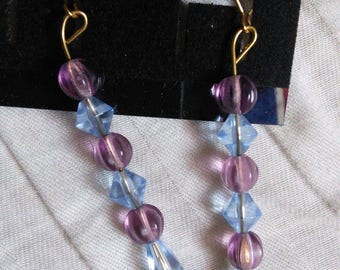 Purple and blue beaded earrings