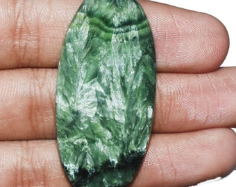Top AAA Quality Natural Seraphinite Gemstone - Seraphinite Cabochon - Seraphinite jewelry - Seraphinite Stone - 46.05 Cts 50x23x5 MM AM-1910