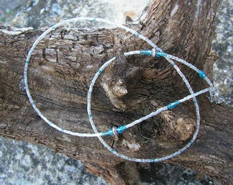DrawString glasses transparent hues and turquoise beaded jewelry