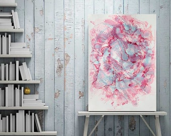 Original Pink Abstract Ink Painting A3 Modern Art