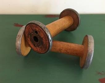 Antique Wooden Spools Set of 2