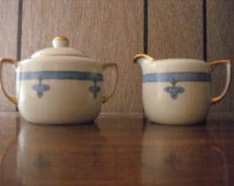 Hand Painted Nippon Vintage Creamer and Lidded Sugar Bowl with Gold Trim