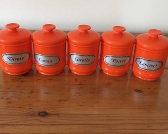 Vintage spice jars orange emsa 1970
