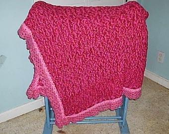 Hot Pink V Stitch Afghan