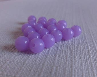 6 mm, hole: 1.5 mm - 40 acrylic beads, fluorescent neon Lavender