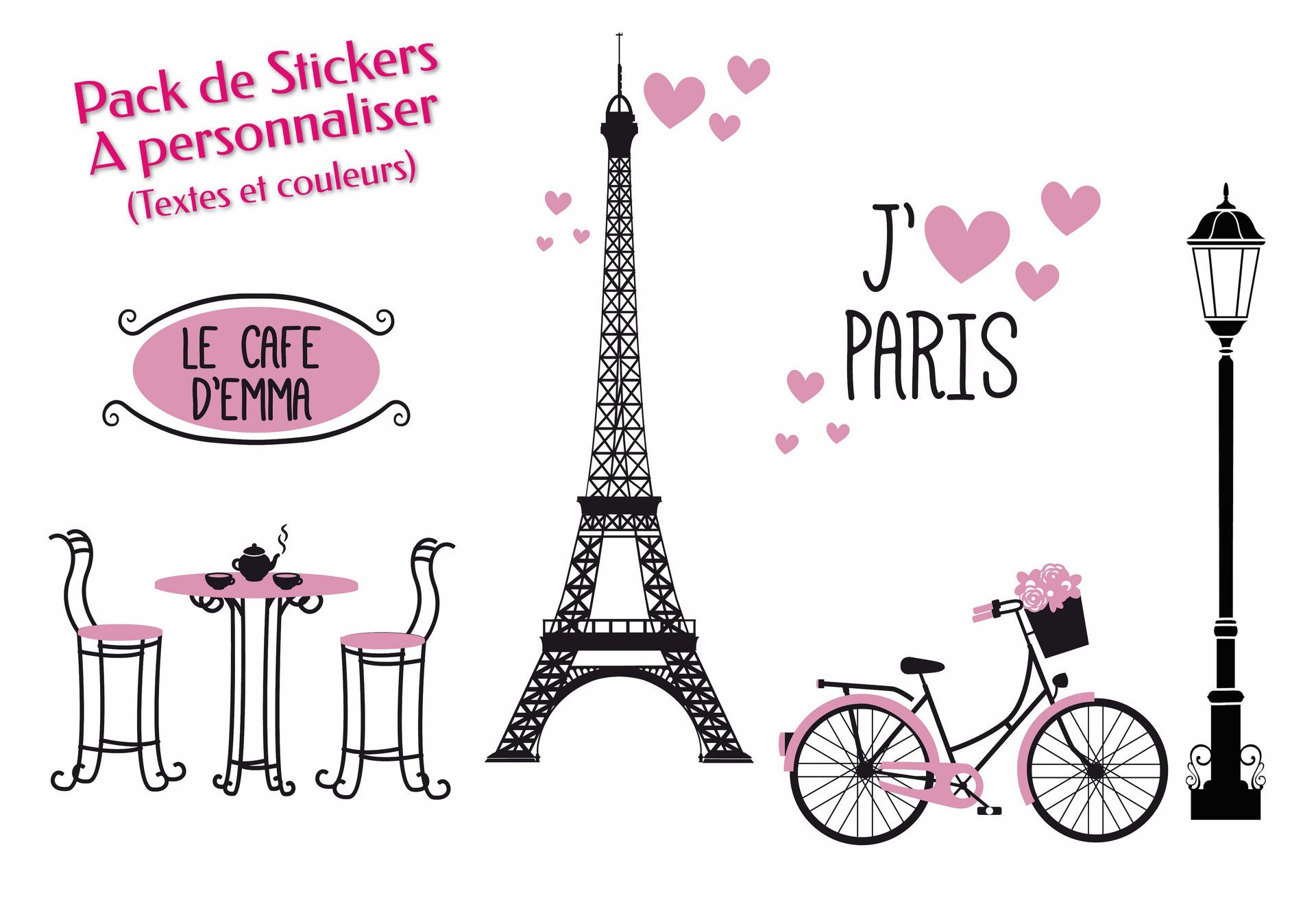 Pack Stickers muraux personnalisables Paris Fille