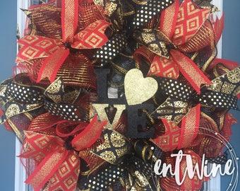 Valentine's Day Wreath, Love Red Black & Gold Deco Mesh Wreath, Front Door Decor