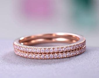 Pink CZ Diamond Wedding Ring Set Rose Gold 925 Sterling Silver Half Eternity Micro Pave Engagement Stacking Band Bridal Women Promise Gift