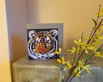 TIGER greetings card, Blank, Thankyou, Birthday, wildlife, nature lover, gift for her, gift, recycled card, compostable wrapper, cat,