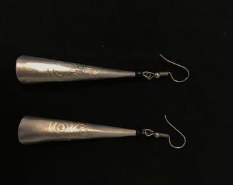 Silver Engraved Trumpet Earrings
