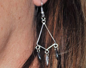 earring chandelier geometric black and silver