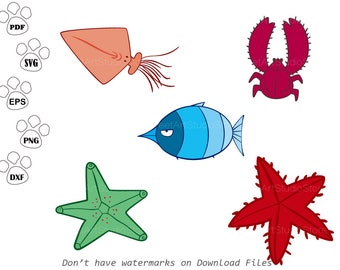 Under the sea SVG Files, Starfish svg, Sea crab svg, squid Clipart,  cricut, cameo, silhouette cut files commercial & personal use