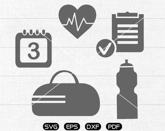 Gym svg Files, Heart rate, Water bottle, Fitness, Workout Clipart, cricut, cameo, silhouette cut files commercial & personal use