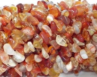"16"" strand of red carnelian gemstone chips"