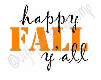 Happy Fall Y'all Decal