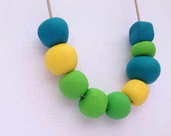 Gumdrop Polka Necklace in Polymer Clay