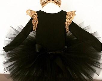 Baby black and gold romper and black tutu set, black tutu, baby tutu, baby lace romper, cakesmash outfit, tutu set, romper set, alternative