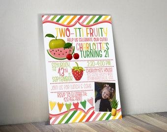 Two-tti Fruity Photo Birthday Invitation