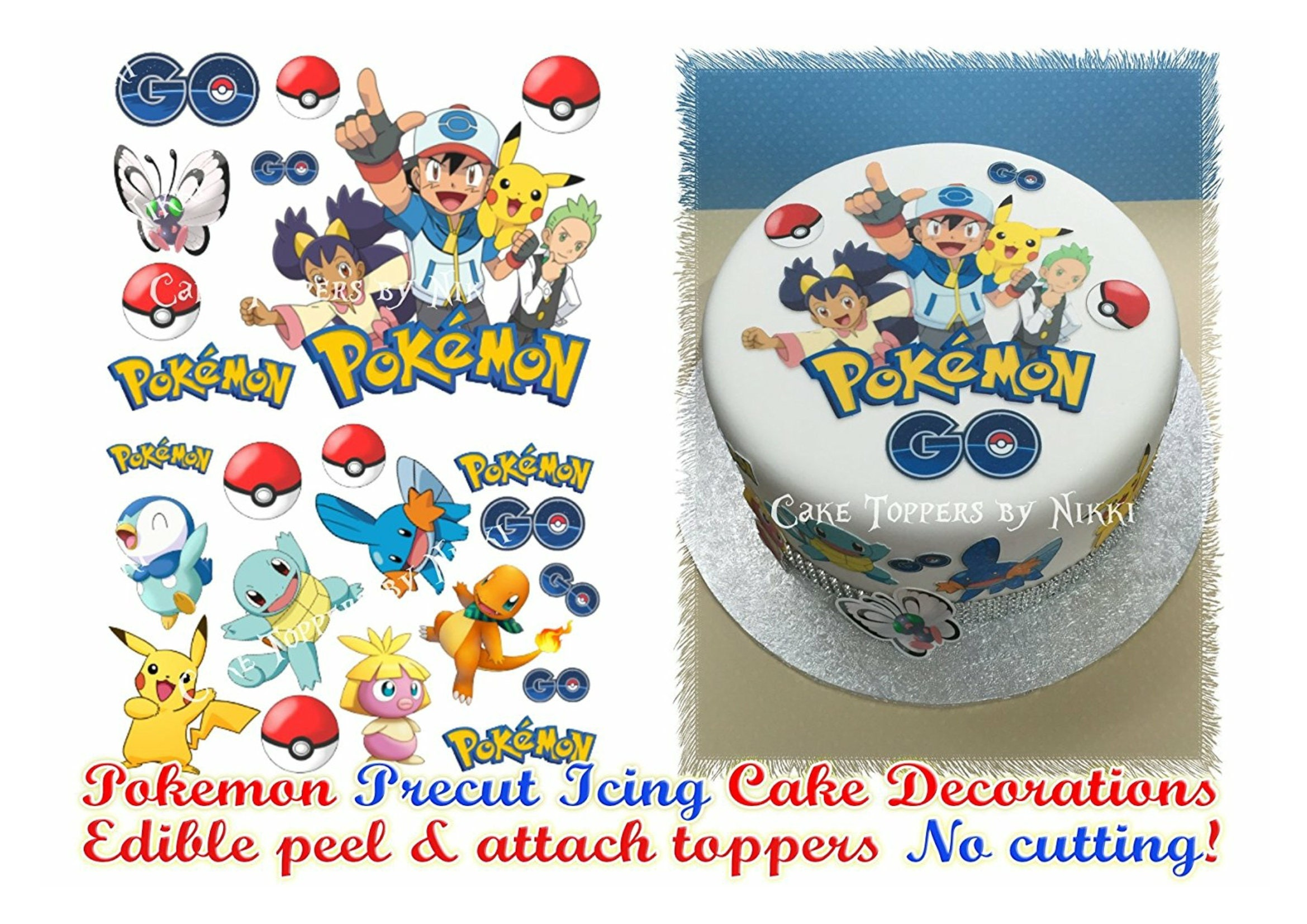 Edible Cake Images Pokemon : Edible Icing POKEMON GO Cake Decorations PRECUT No Cutting