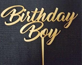 MDF Laser Cut Cake Topper  - Birthday Boy