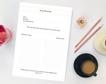 Goal Planner, Ten Goals Method, Set of 2, Goal Printable, Planner with Quotes, Goal Setting Planner, Goals