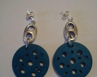 Blue earrings with metal