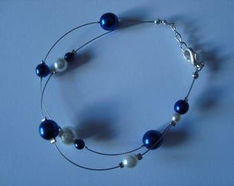 Cornflower blue and white bracelet