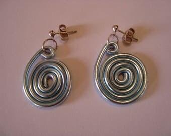 Blue snail earrings