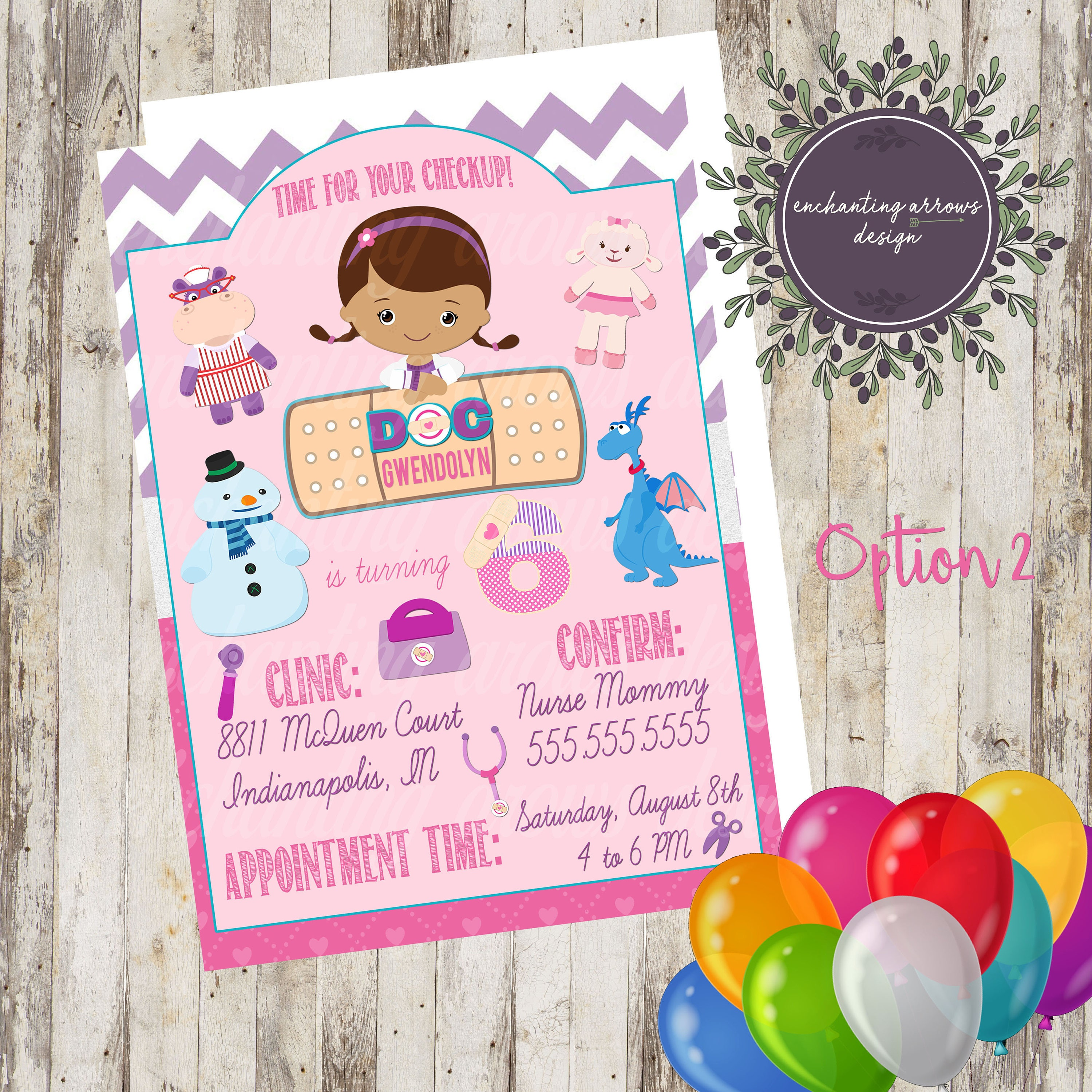 Doc McStuffins Birthday Invitation, Doc McStuffins Invite, Doc ...