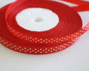 50 cm of Red Ribbon with white dots 9 mm grosgrain Ribbon