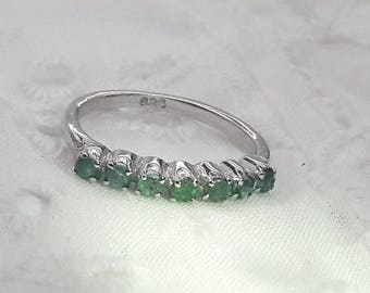 Emerald Stacking Ring Sterling Silver/Handmade/Free Shipping US/May Birthstone/Christmas present/Friendship Ring/Birthday present