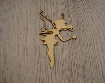 the fairy and her wand 1416 large wooden embellishment